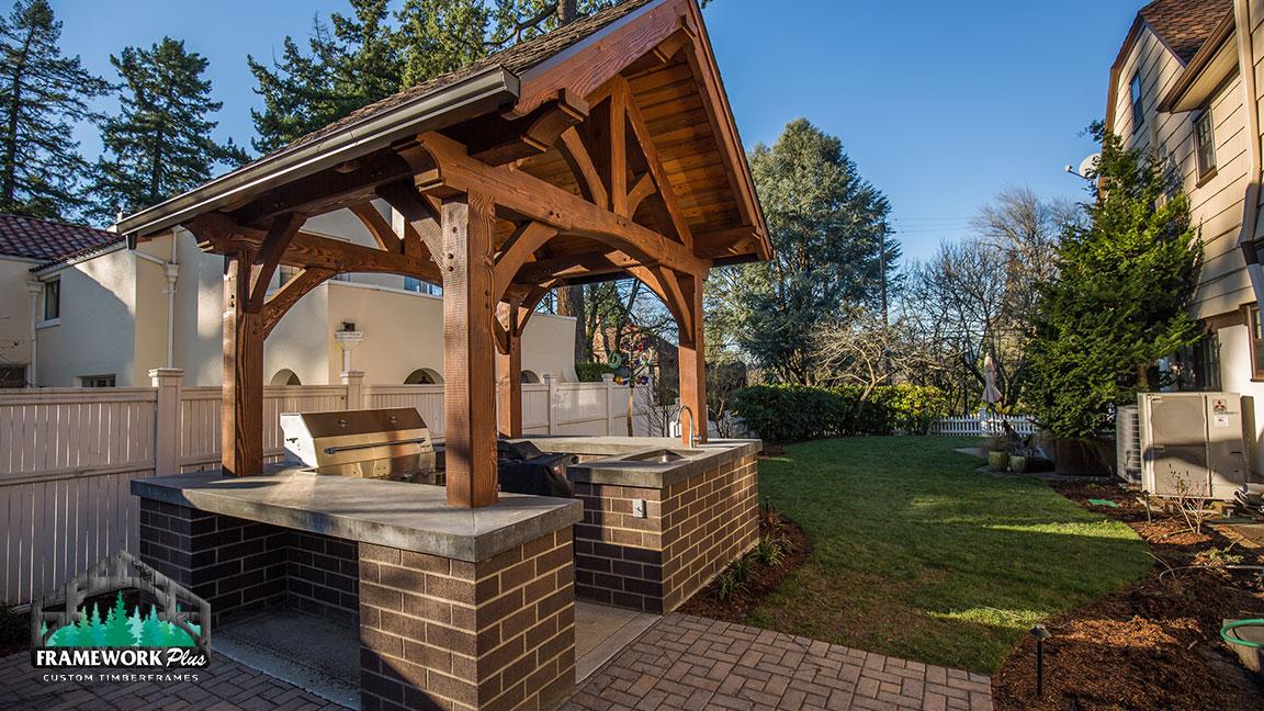 Timber Frame Pavilion Kit In SE Portland, OR - Framework Plus