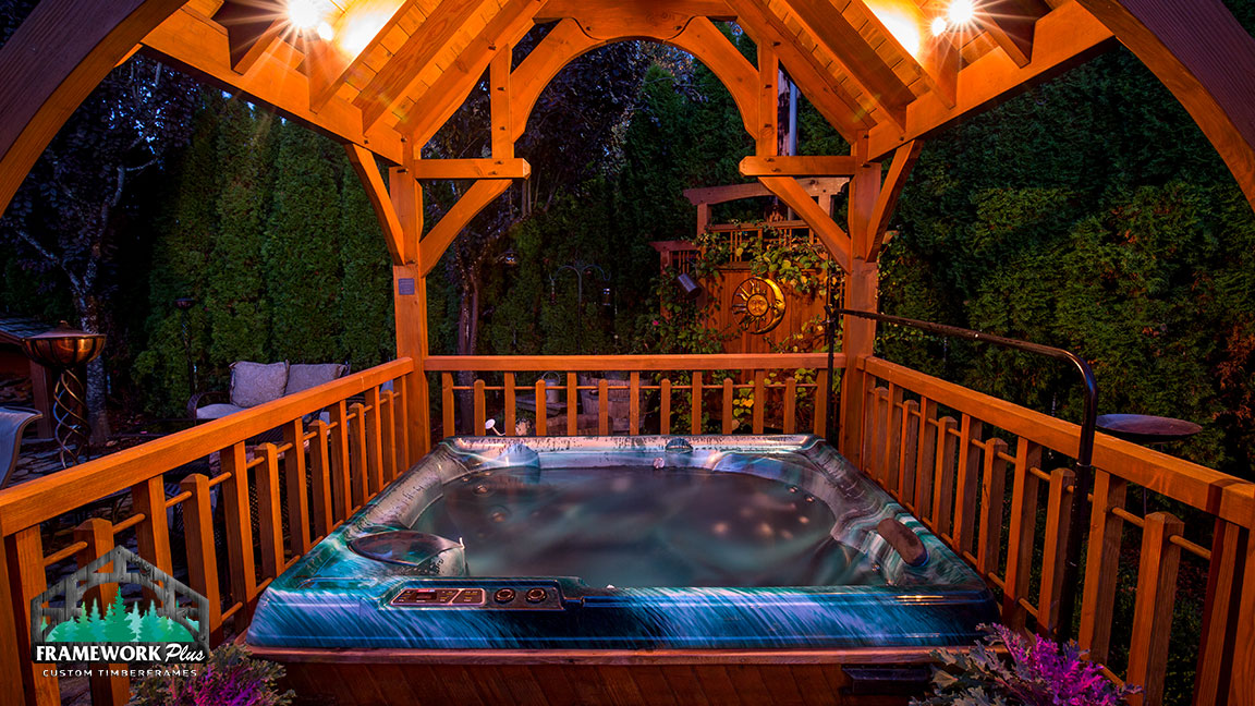 Gazebo built by Framework Plus over a hot tub in Estacada, OR