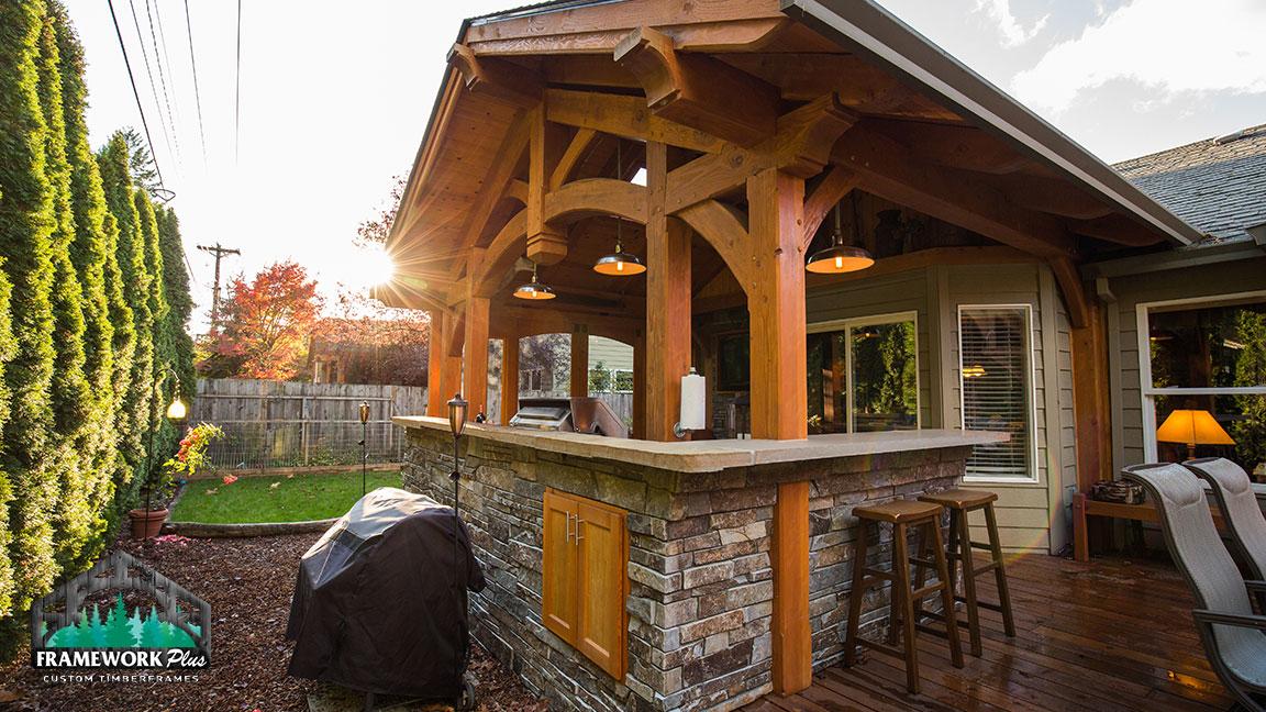 Timber Frame Outdoor Living Pavilion In Gresham Or