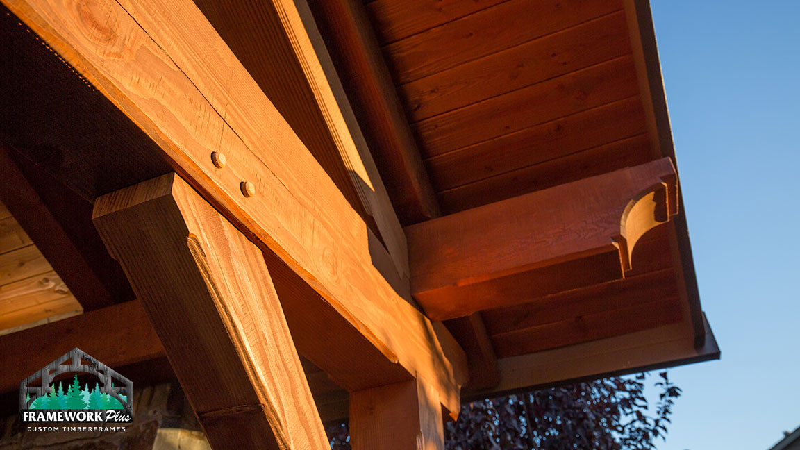 The roof of a hardwood gazebo built by Framework Plus in Portland, OR