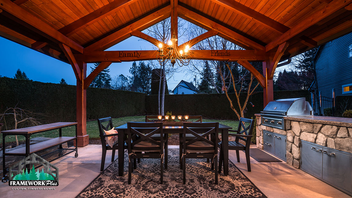 Interior dining area of the MT. Hood Timber Frame Pavilion built by timber pavilion kits provider Framework Plus in Portland, OR
