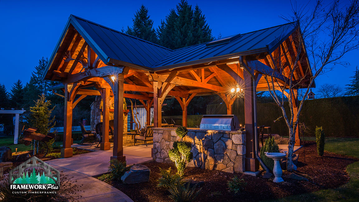 A outdoor pavilion purchased from and constructed by Framework Plus in Estacada, OR