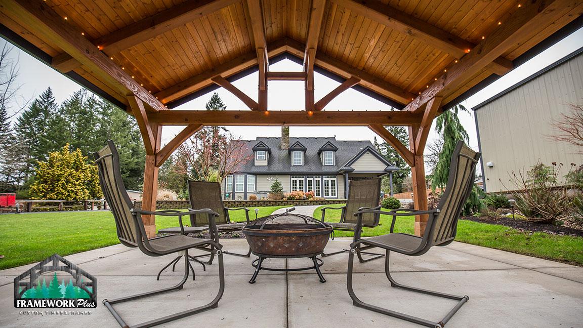 backyard timber frame pavilion in gresham or framework plus