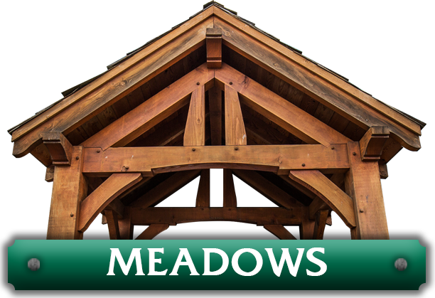 The word 'Meadows' next to a pavilion kit created by Framework Plus in Portland, OR