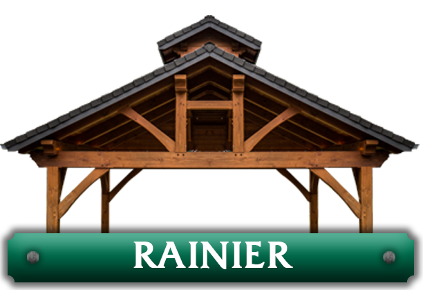 A pavilion with the word 'Rainier' under it leading to the Rainier Kits designed by Framework Plus in Estacada, OR