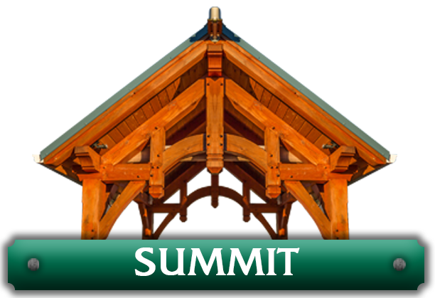 A pavilion above the word 'Summit' representing the summit kits designed by Framework Plus in Estacada, OR