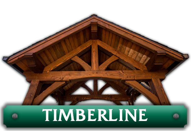 The top of a pavilion with the word 'Timberline' representing the Timberline pavilion kit series by Framework Plus in Portland, OR