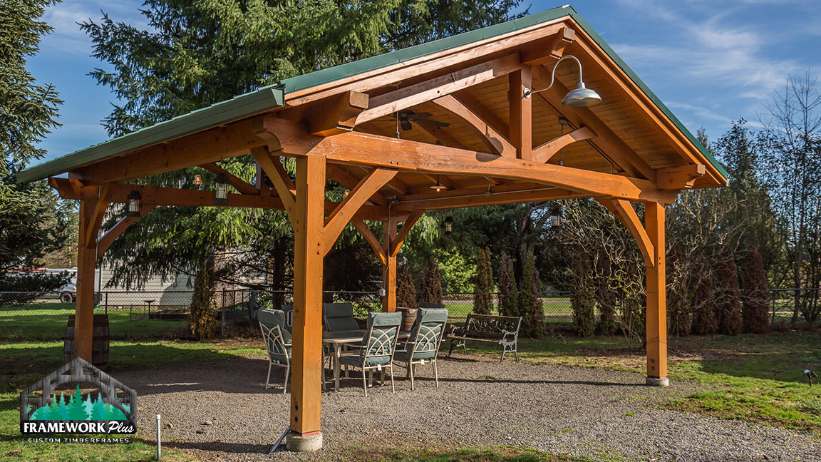 Right-side full view of a Timberline pavilion kit with tongue and groove wood ceiling designed by gazebo builder Framework Plus in Estacada, OR