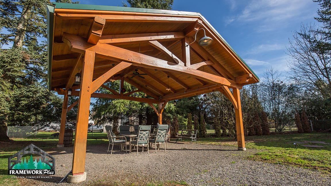 Full close-up right side view of a Timberline pavilion kit with tongue and groove wood ceiling designed by Framework Plus in Estacada, OR