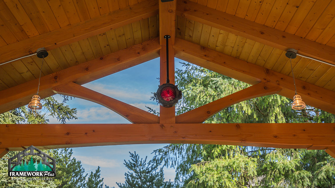 Close-up of the lights inside of a Timberline pavilion kit with tongue and groove wood ceiling designed by gazebo builder Framework Plus in Estacada, OR