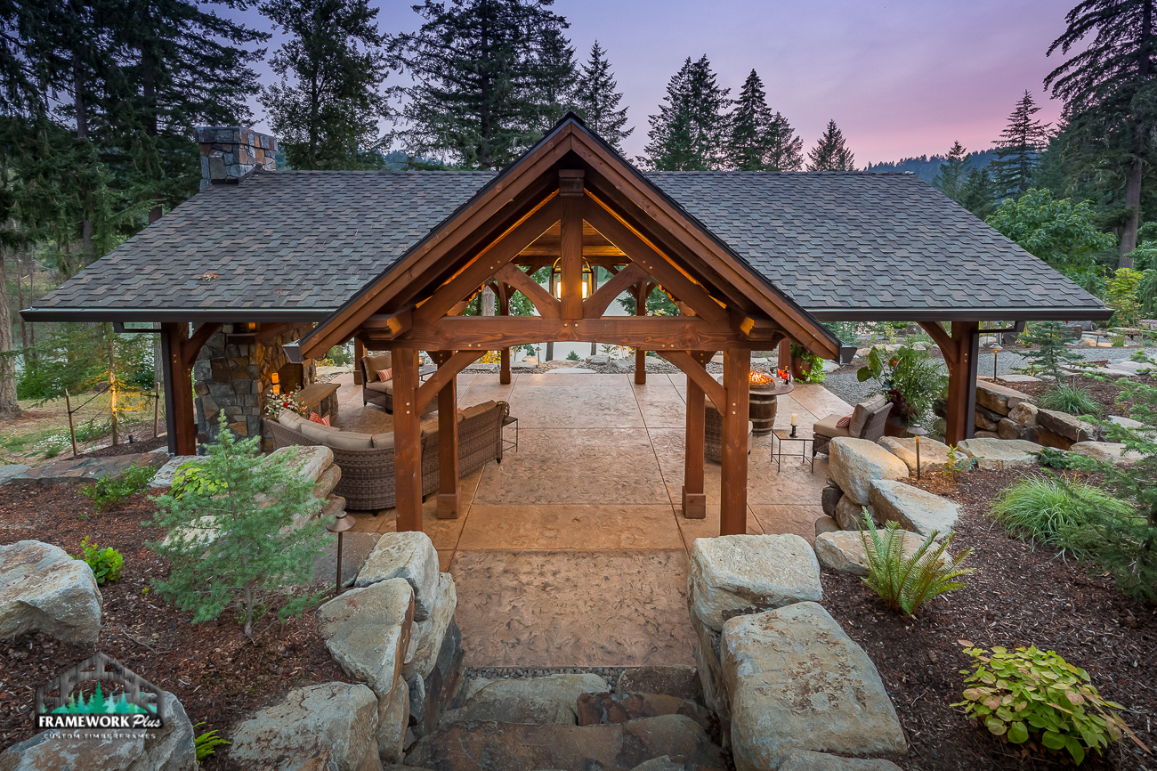 An exterior pavilion created by Framework Plus in Estacada, OR